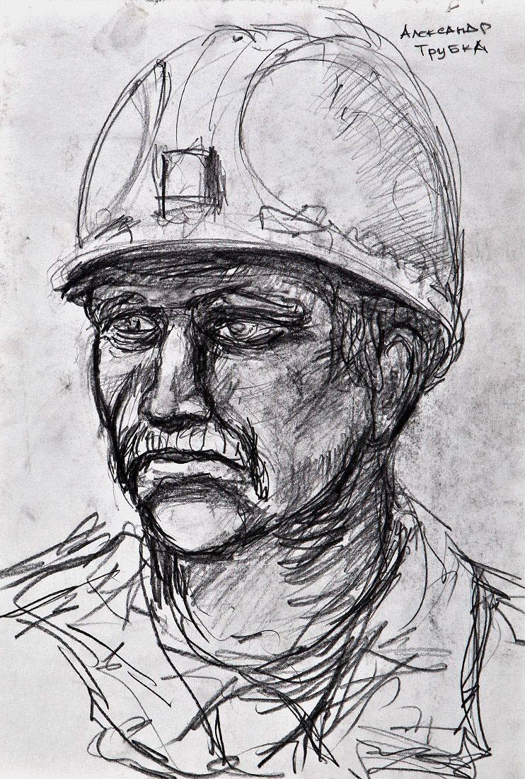 1040m Underground, gunpowder drawings of miners - Guo-Qiang, Cai